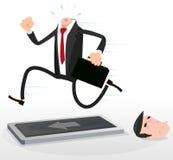 Homem de negócios dos desenhos animados em uma escada rolante Fotos de Stock