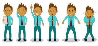 Homem de negócios dos desenhos animados nas ações ajustadas ilustração do vetor