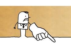Homem de negócios dos desenhos animados que aponta o dedo para baixo ilustração royalty free