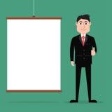 Homem de negócios dos desenhos animados que dá os polegares acima com placa da apresentação Fotos de Stock Royalty Free