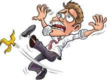 Homem de negócios dos desenhos animados que desliza em uma casca da banana Imagem de Stock Royalty Free