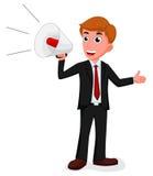Homem de negócios dos desenhos animados que fala com um megafone Fotografia de Stock