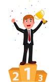 Homem de negócios dos desenhos animados que guarda um copo dourado com confetes Imagem de Stock Royalty Free