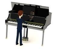 Homem de negócios dos desenhos animados que joga em mais clavier Imagens de Stock Royalty Free