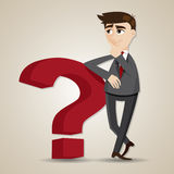 Homem de negócios dos desenhos animados que pensa com ponto de interrogação Fotos de Stock