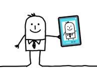 Homem de negócios dos desenhos animados que toma uma imagem dsi mesmo Fotos de Stock