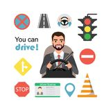Homem de negócios Drive um carro Grupo de símbolos da estrada e de caráter do motorista imagens de stock