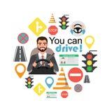 Homem de negócios Drive um carro Grupo de símbolos da estrada e de caráter do motorista foto de stock royalty free