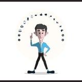 Homem de negócios e ícones ajustados Imagens de Stock
