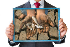 Homem de negócios e alterações climáticas foto de stock