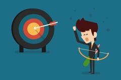 Homem de negócios e alvo do sucesso Imagem de Stock