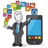 Homem de negócios e apps ilustração stock