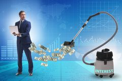 Homem de negócios e aspirador de p30 que suga o dinheiro fora dele imagem de stock royalty free