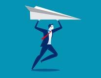 Homem de negócios e aviões de papel Vetor do sucesso comercial do conceito Imagens de Stock Royalty Free