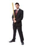 Homem de negócios e bastão de beisebol imagens de stock royalty free