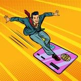 Homem de negócios e cartão de crédito snowboarding ou surfar Foto de Stock