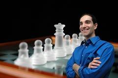 Homem de negócios e chess-1 foto de stock