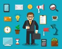 Homem de negócios e coisas para o trabalho Fotografia de Stock