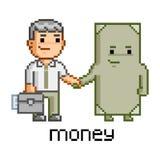Homem de negócios e dinheiro da arte do pixel Imagem de Stock