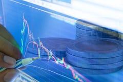 Homem de negócios e exposição do preço do gráfico do mercado de valores de ação e da carta de barra Foto de Stock