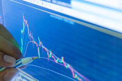 Homem de negócios e exposição do preço do gráfico do mercado de valores de ação e da carta de barra, B Imagens de Stock Royalty Free