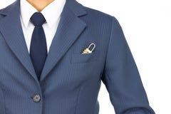 Homem de negócios e fechamento de combinação no bolso isolado no fundo branco Imagens de Stock Royalty Free