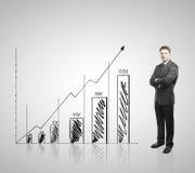Homem de negócios e gráfico Imagens de Stock Royalty Free