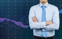 Homem de negócios e gráfico Imagem de Stock