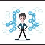 Homem de negócios e grupo do ícone do negócio Fotos de Stock Royalty Free
