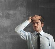 Homem de negócios e máscara foto de stock royalty free