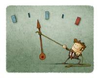 Homem de negócios e medidor de velocidade ilustração stock