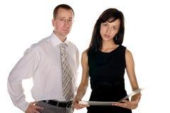 Homem de negócios e mulher de negócios preocupados Fotografia de Stock