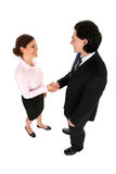 Homem de negócios e mulher que agitam as mãos Imagem de Stock Royalty Free