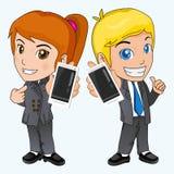 Homem de negócios e o dispositivo Ilustração do Vetor