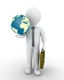 Homem de negócios e o globo Imagens de Stock