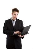 Homem de negócios e portátil imagens de stock royalty free
