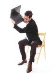 Homem de negócios e seu portátil fotos de stock royalty free