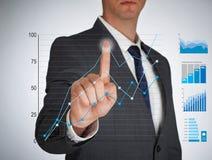 Homem de negócios e tela virtual Fotos de Stock