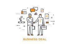 Homem de negócios e trabalhador que agitam as mãos Interação da cooperação sucesso da ilustração, cooperação, investimentos Imagens de Stock