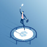 Homem de negócios e trampolim isométricos ilustração stock