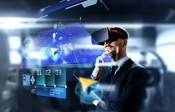 Homem de negócios em auriculares da realidade virtual com gps fotos de stock