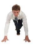 Homem de negócios em blocos começar Imagens de Stock