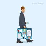 Homem de negócios em um terno com uma mala de viagem aberta, vetor Imagens de Stock Royalty Free