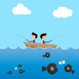 homem de negócios 2 em um uso do barco grande e na isca pequena do dólar a travar ilustração do vetor
