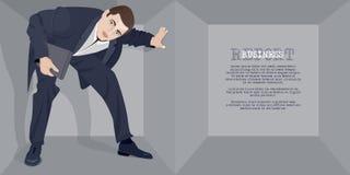Homem de negócios em uma caixa Foto de Stock Royalty Free