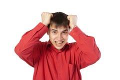 Homem de negócios em uma camisa vermelha Fotografia de Stock
