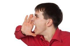 Homem de negócios em uma camisa vermelha Fotografia de Stock Royalty Free