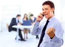 Homem de negócios energético feliz fotografia de stock royalty free