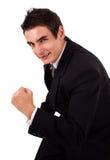 Homem de negócios energético feliz com seus braços levantados foto de stock royalty free