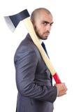 Homem de negócios engraçado com machado Imagem de Stock